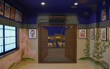 四季の庭の壁画、カリカチュアジャパン、浅草のスタジオ、東京 four seasons walled garden mural – Caricature Japan Studio – asakusa studio, tokyo