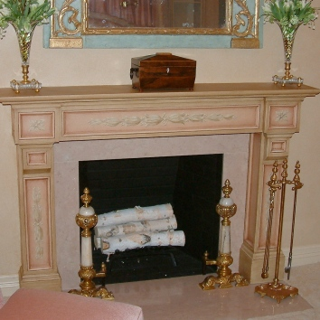 painted and glazed fireplace mantel - private residence - boston, ma