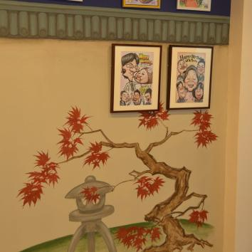 紅葉と石灯籠、ディテール、カリカチュアジャパン、浅草のスタジオ、東京 japanese maple detail – Caricature Japan Studio – asakusa, tokyo