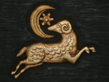 carved, painted and gilt signboard - aries art studio - belmont, ma