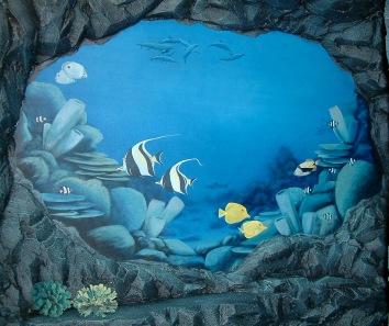 彫った石の壁と海底の壁画、米国のシャルリー市 carved rock wall and painted underwater murals - private residence - shirley, ma