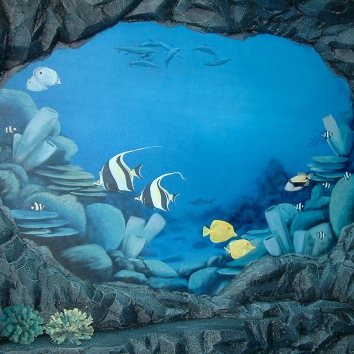 彫った石の壁と海底の壁画、米国のシャルリー市 carved rock wall and painted underwater murals - private residence - shirley, ma