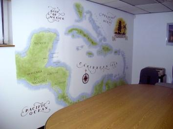 旅行会社のカリブ海の地図の壁画、米国のフィチバーグ市 travel agency carribean map wall mural – fitchburg, ma