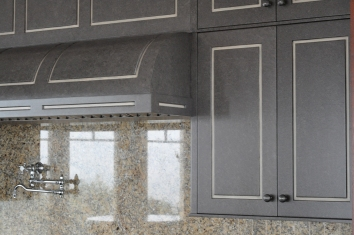 grey ragged glaze & off-white striping on kitchen cabinets - private residence - chatham, ma