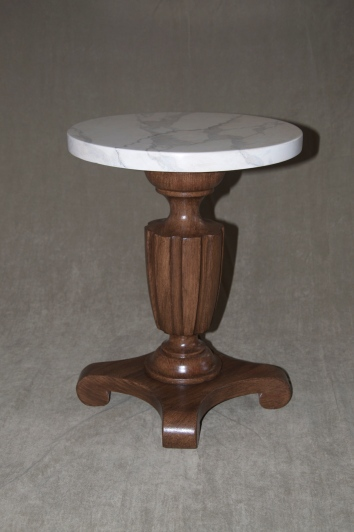 faux bois table base with faux marbre top - private residence - cambridge, ma