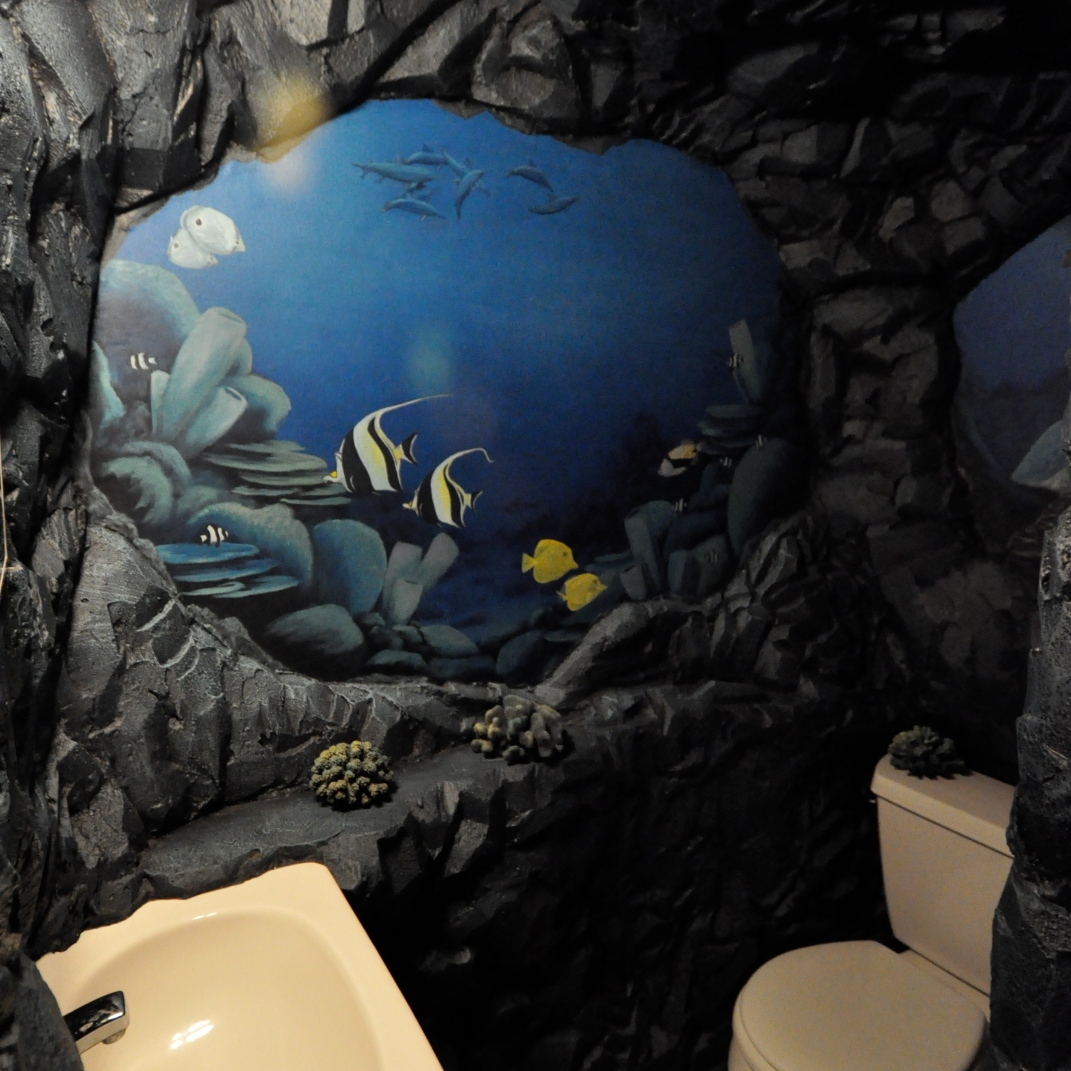 carved rock wall and painted underwater murals - private residence - shirley, ma