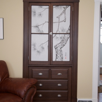 faux bois china cabinet - private residence - belmont, ma