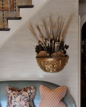 gilt planter - private residence - newton, ma