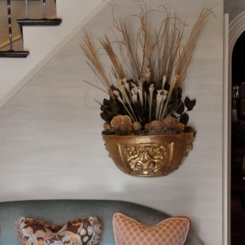 gilt planter - private residence - newton, ma