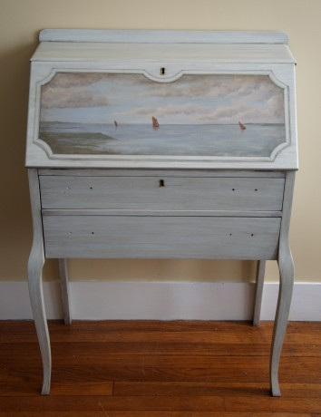 re-finished writing desk with landscape painting & trompe l'oeil framing - cambridge, ma