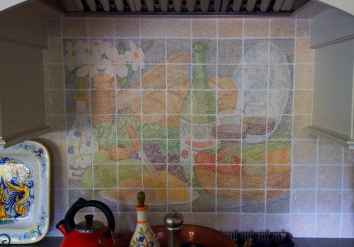 飲食のテーマのフォーモゼイク、米国のベドファード市 food & wine theme mosaic mural - private residence - bedford,ma