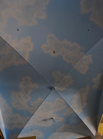 空の天井画(建設中)、EAT カリフォルニアダイナー、南青山、東京 sky mural ceiling (during construction phase) - EAT California Diner - minami-aoyama, minato-ku