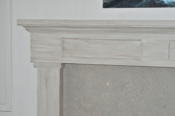 driftwood finish faux bois fireplace mantel - private residence - yarmouth, ma