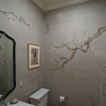 梅花の壁画、米国のボストン plum blossom theme mural – boston, ma