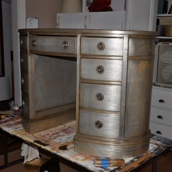 silver gilt and antiqued vanity - private residence - boston, ma