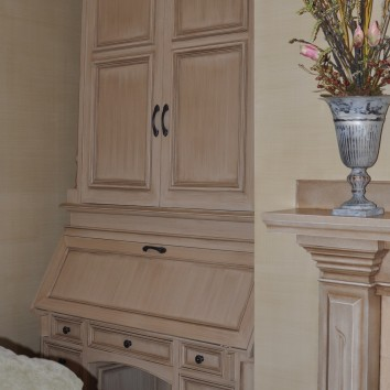 painted, glazed and antiqued secretary's desk - private residence - wellesley, ma