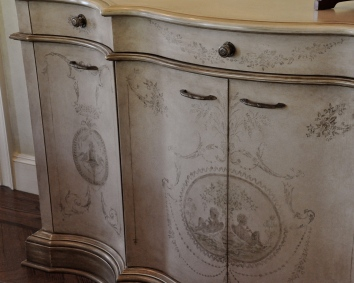 painted, glazed and antiqued buffet with floral motif - private residence - wellesley, ma