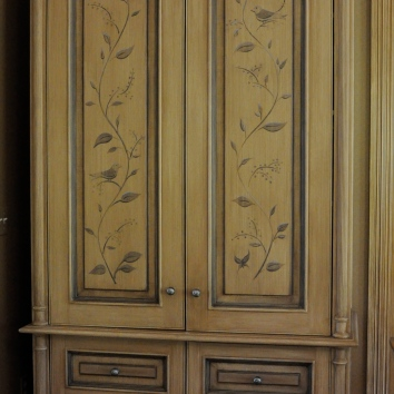 painted, glazed and antiqued armoir with floral motif - private residence - wellesley, ma