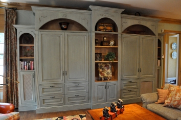 painted and glazed bookshelf/entertainment cabinet - private residence - wellesley, ma