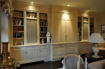 subtle strie glaze on built-in bookshelf cabinet - private residence - boston, ma