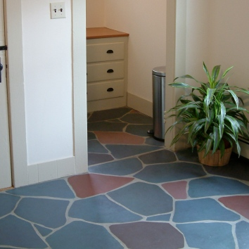 faux flagstone painted floor - private residence - belmont, ma