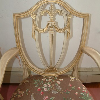 painted, gilt, and antiqued dining room chair - set of 8 - private residence - weston, ma