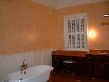 master bathroom lace imprint glaze - private residence - weston, ma