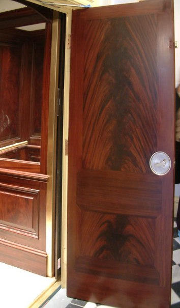 faux bois painted on steel elevator door - private residence - boston, ma