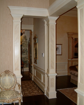 faux marbre foyer pilaster panels - private residence - boston, ma