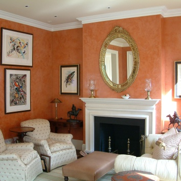 living room venetian plaster - boston, ma