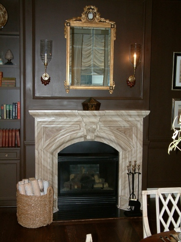 faux marbre fireplace mantel - boston.ma