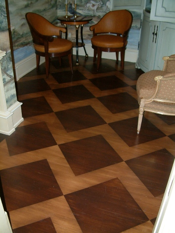 patterned faux bois inlay floor - private residence - boston, ma