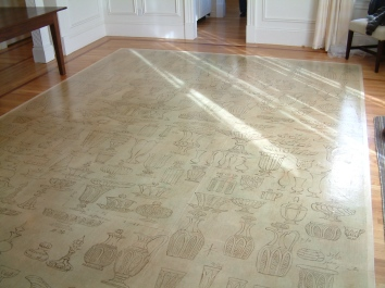 antique glass catalog motif painted floorcloth - private residence - cambridge, ma