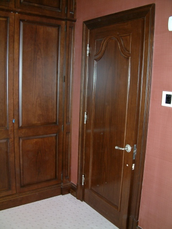 same door after faux bois painting has been finished - private residence - brookline, ma