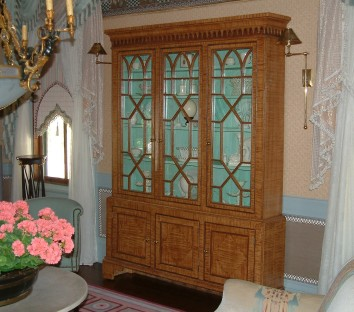 faux tiger maple china cabinet - private residence - cambridge, ma