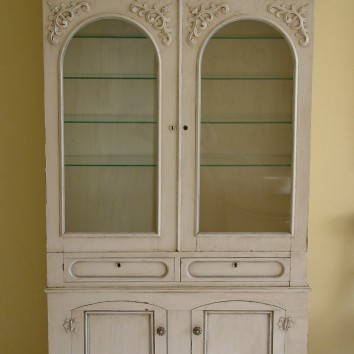 painted, glazed and antiqued china cabinet - private residence - boston, ma