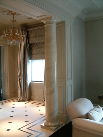 faux marbre column - private residence - boston, ma