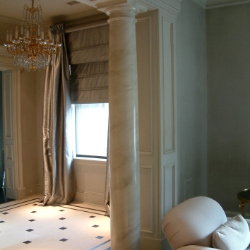 faux marbre column - private residence - boston, ma