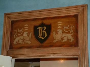faux bois marquetry coat-of-arms - private residence - boston, ma