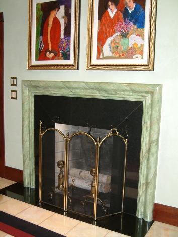 faux marbre fireplace mantel - hampton, nh
