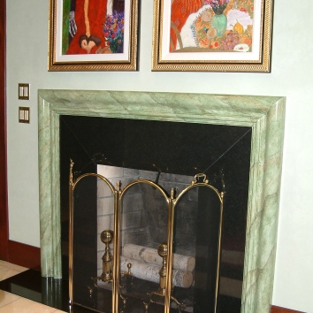 faux marbre fireplace mantel - hampton, nh