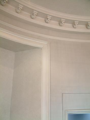 subtle strie on woodwork, ragged glaze inside bookshelf, linen glaze on wall - private residence - boston, ma