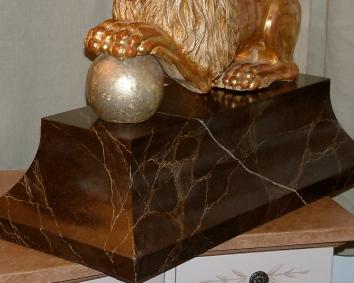faux marbre pedestal (detail)- private residence - boston, ma