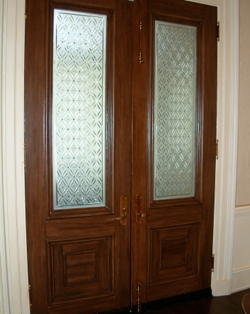 faux bois mahogany entry doors - private residence - boston, ma