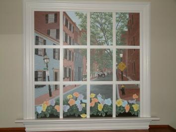 騙し絵の窓の壁画、米国のボストン trompe l'oeil window mural - private residence - boston, ma