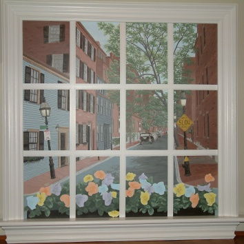 騙し絵の窓の壁画、米国のボストン trompe l'oeil window mural - private residence - boston, ma