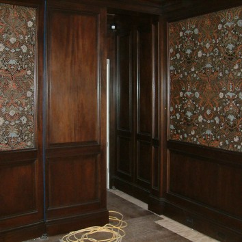 painted embossed leather panels - private residence - brookline, ma