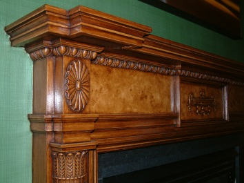 faux bois painted on plaster fireplace mantel (detail) - private residence - boston, ma