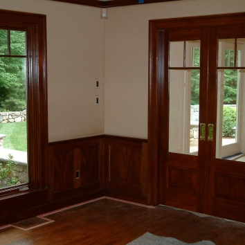 faux bois mahogany finish over construction grade poplar - private residence - wayland, ma(this picture shows finished look of faux bois)