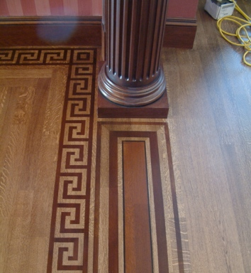 faux bois marquetry on foyer floor - private residence, boston, ma